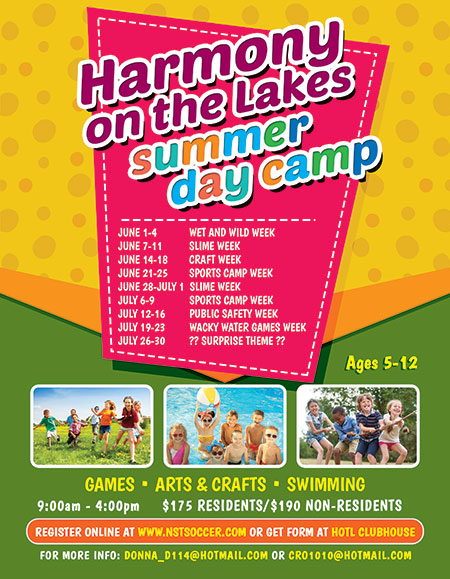 Harmony on the Lakes 2021 Summer Camp flyer
